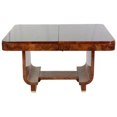 French Art Deco 1930s Table Dining Table Nutwood Extendable