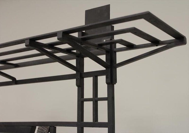 Mid-20th Century French Art Deco 1930s Wall Stand Hat Rack with Shelves For Sale