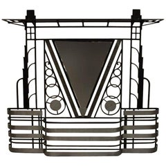 French Art Deco 1930s Wall Stand Hat Rack with Shelves