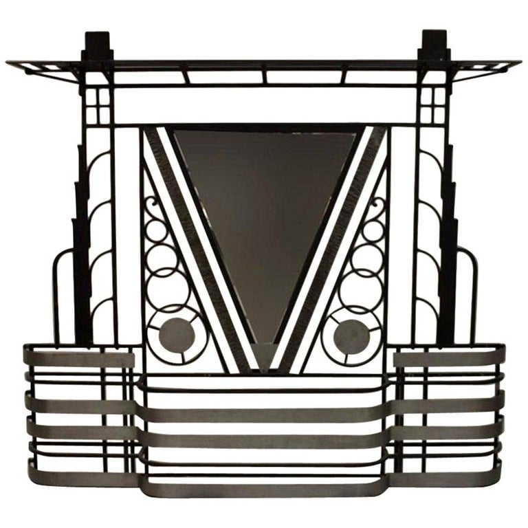 French Art Deco 1930s Wall Stand Hat Rack with Shelves For Sale