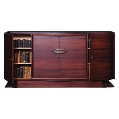 French Art Deco 1940s Design Mahogany and Brass Sideboard
