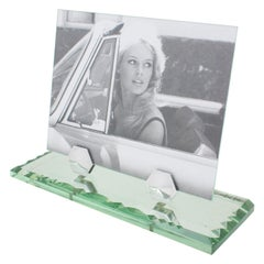 French Art Deco 1940s Mirrored Picture Photo Frame with Chrome Accent