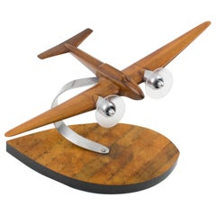 French Art Deco, 1940s Wooden and Aluminum Airplane Aviation Model