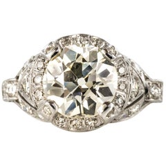 French Art Deco 2.59 Carat Diamonds Platinum Ring