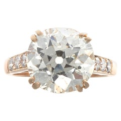 French Art Deco 4.24 Carat Diamond Platinum Ring