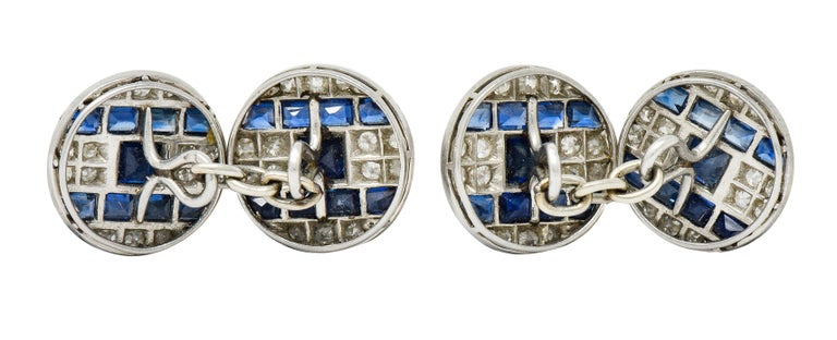 Old European Cut French Art Deco 7.32 Carat Sapphire Diamond Platinum Men's Cufflinks For Sale