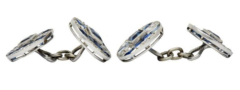 French Art Deco 7.32 Carat Sapphire Diamond Platinum Men's Cufflinks In Excellent Condition For Sale In Philadelphia, PA