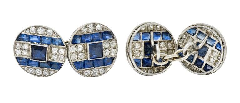 Women's or Men's French Art Deco 7.32 Carat Sapphire Diamond Platinum Men's Cufflinks For Sale