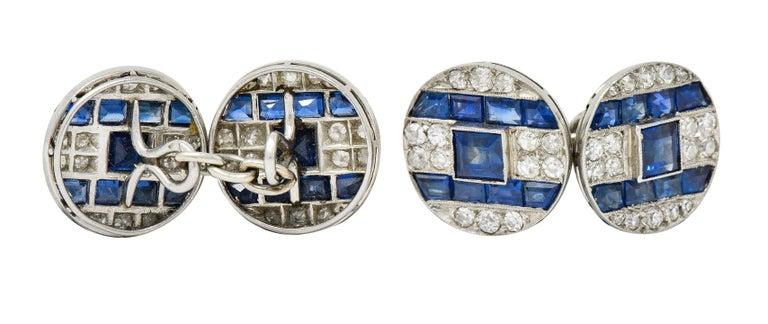 French Art Deco 7.32 Carat Sapphire Diamond Platinum Men's Cufflinks For Sale 1