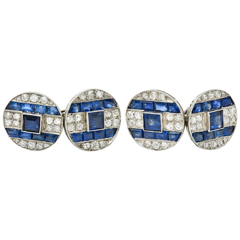 French Art Deco 7.32 Carat Sapphire Diamond Platinum Men's Cufflinks For Sale