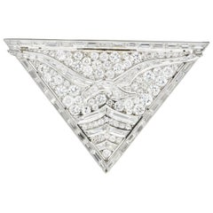 French Art Deco 7.50 Carat Diamond Seagull Bird Platinum Clip Brooch