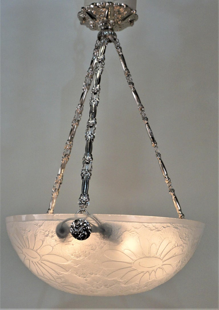 Early 20th Century French Art Deco Acid Cut Glass Chandelier by Noverdy For Sale