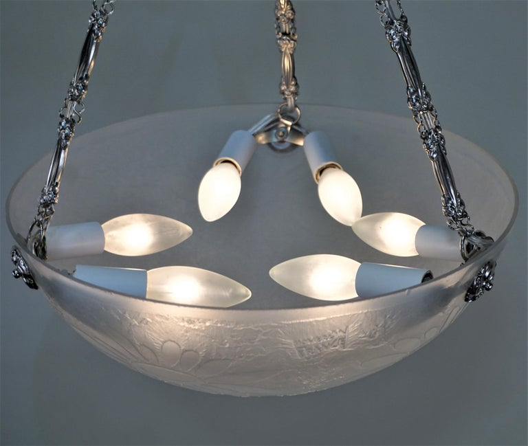 French Art Deco Acid Cut Glass Chandelier by Noverdy For Sale 1