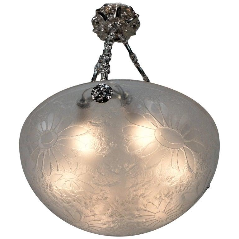 French Art Deco Acid Cut Glass Chandelier by Noverdy For Sale