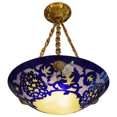 French Art Deco Acid-etched Glass Pendant Chandelier, 1920s
