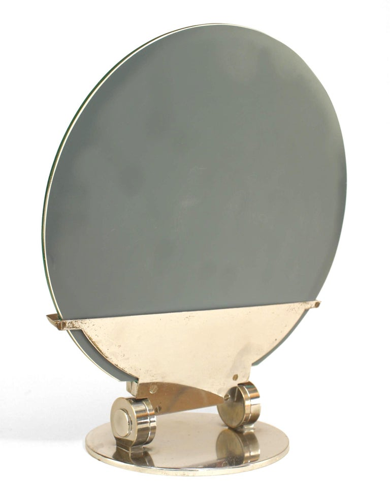 French Art Deco Adjustable Chrome Table Mirror In Good Condition For Sale In New York, NY