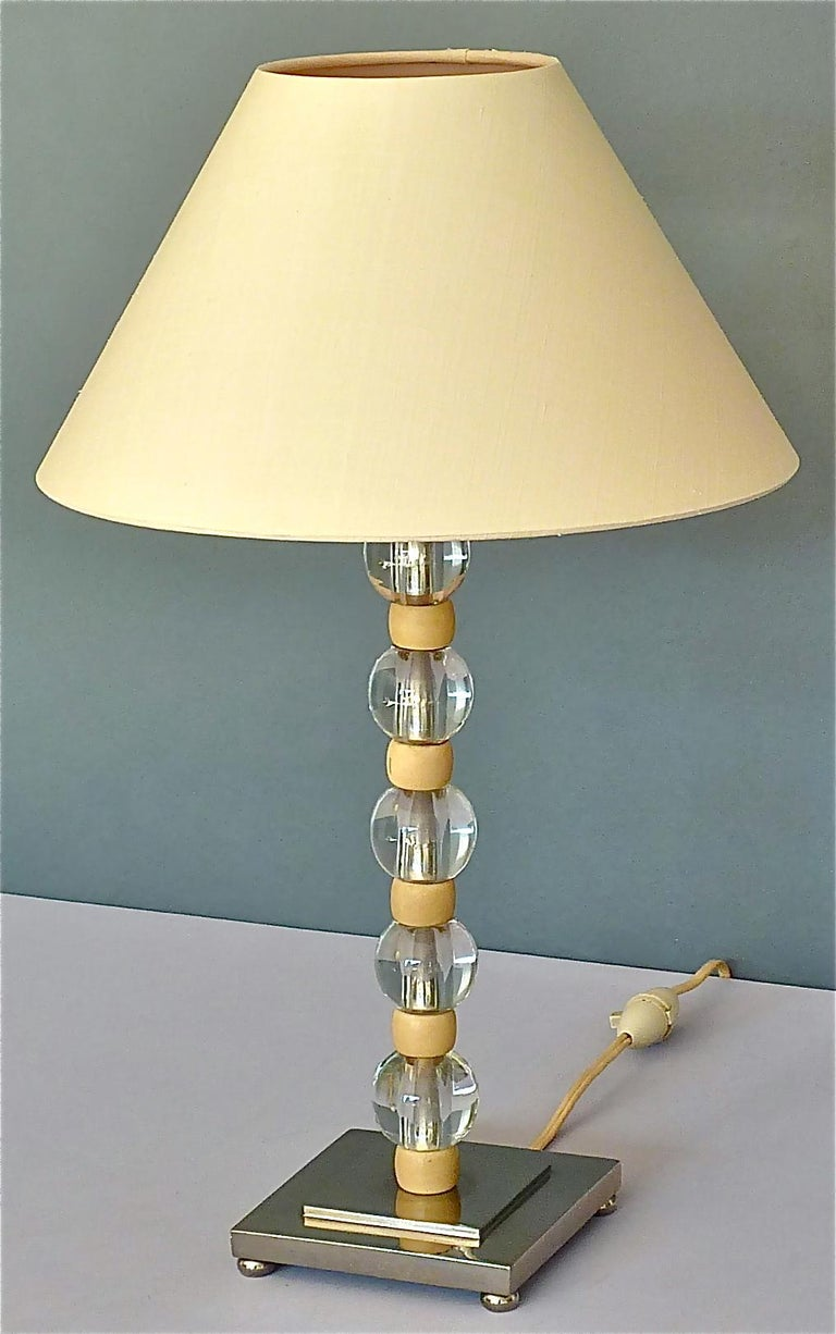 French Art Deco Adnet Baccarat Style Table Lamp Chrome Glass Ivory Color 1930s For Sale 7