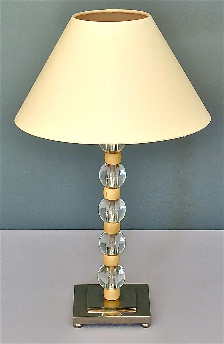 French Art Deco Adnet Baccarat Style Table Lamp Chrome Glass Ivory Color 1930s For Sale 8