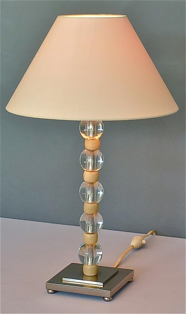French Art Deco Adnet Baccarat Style Table Lamp Chrome Glass Ivory Color 1930s For Sale 10