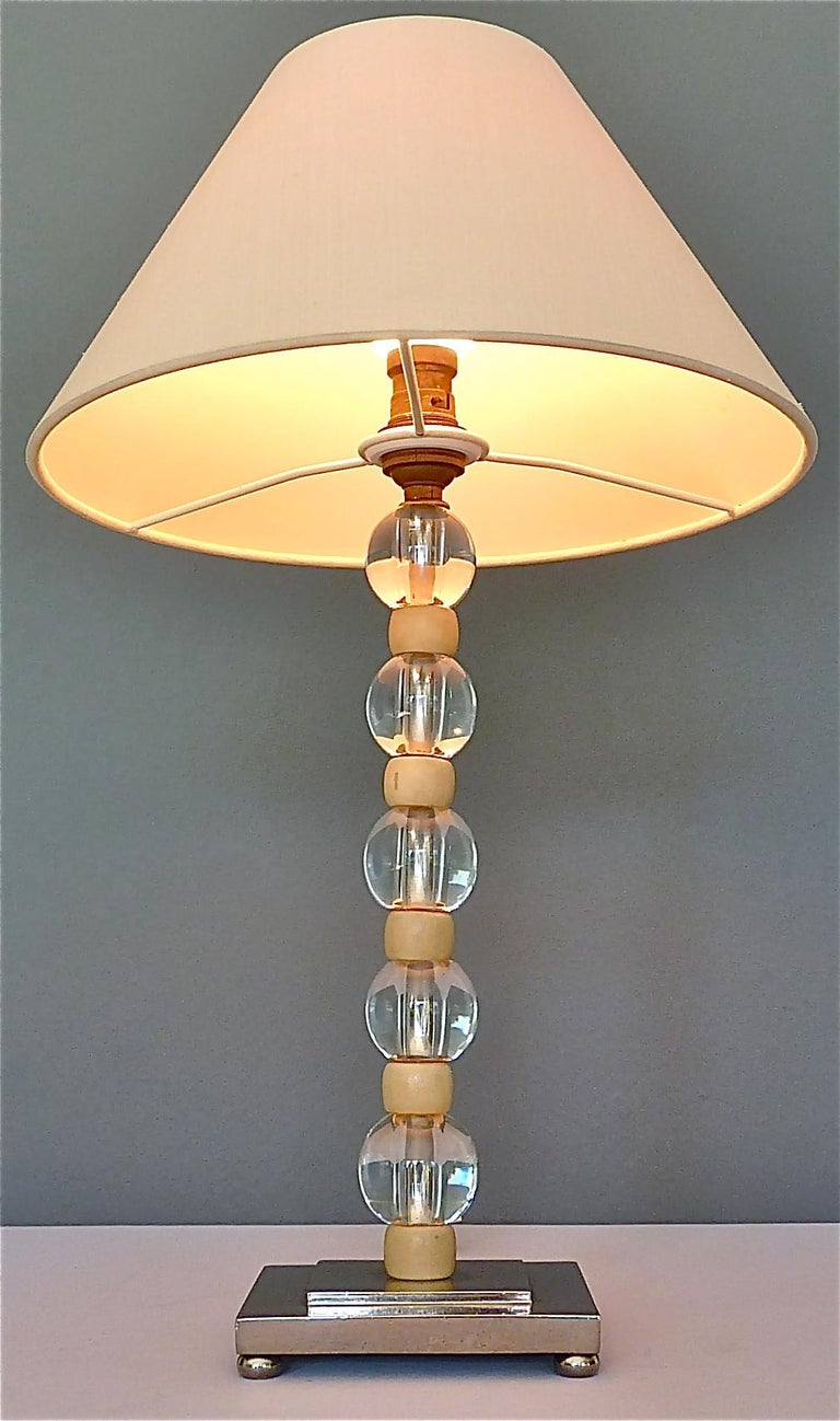 French Art Deco Adnet Baccarat Style Table Lamp Chrome Glass Ivory Color 1930s For Sale 11