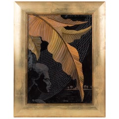 French Art Deco Africanist Reverse Glass Painting by P. Revollon