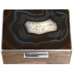 French Art Deco Agate and Silver Plate Table Box