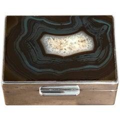 Französische Art-Deco-Achat und Silber Platte Tischbox