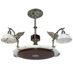 French Art Deco Alabaster and Wood Chandelier