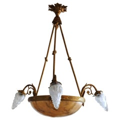French Art Deco Alabaster Gilt Bronze Six-Light Chandelier