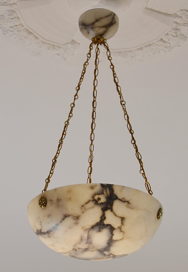 Brass French Art Deco Alabaster Pendant Chandelier, 1920s For Sale