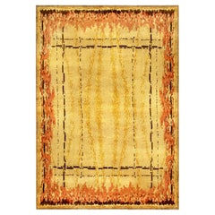 French Art Deco Amber, Chocolate, Coral and Red Handmade Wool Rug