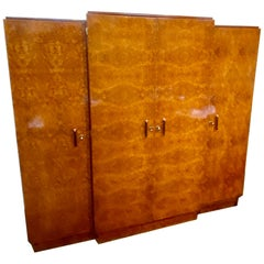 French Art Deco Amboyna Burl Armoire, Book or Storage Cabinet