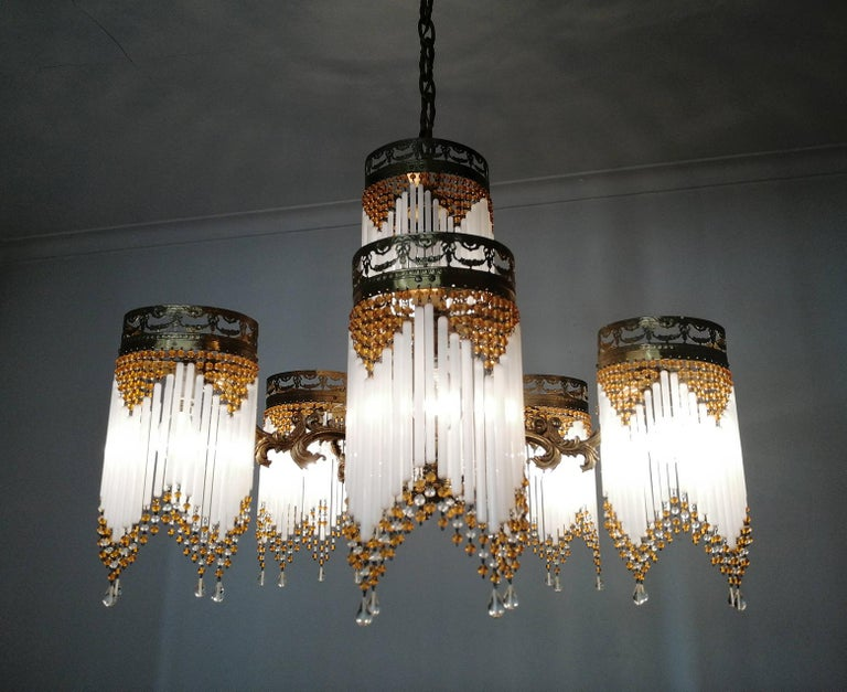 French Art Deco and Art Nouveau Amber Beaded Fringe and Gilt Ornate Chandelier For Sale 4