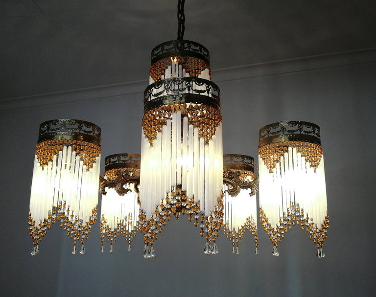 French Art Deco and Art Nouveau Amber Beaded Fringe and Gilt Ornate Chandelier For Sale 5