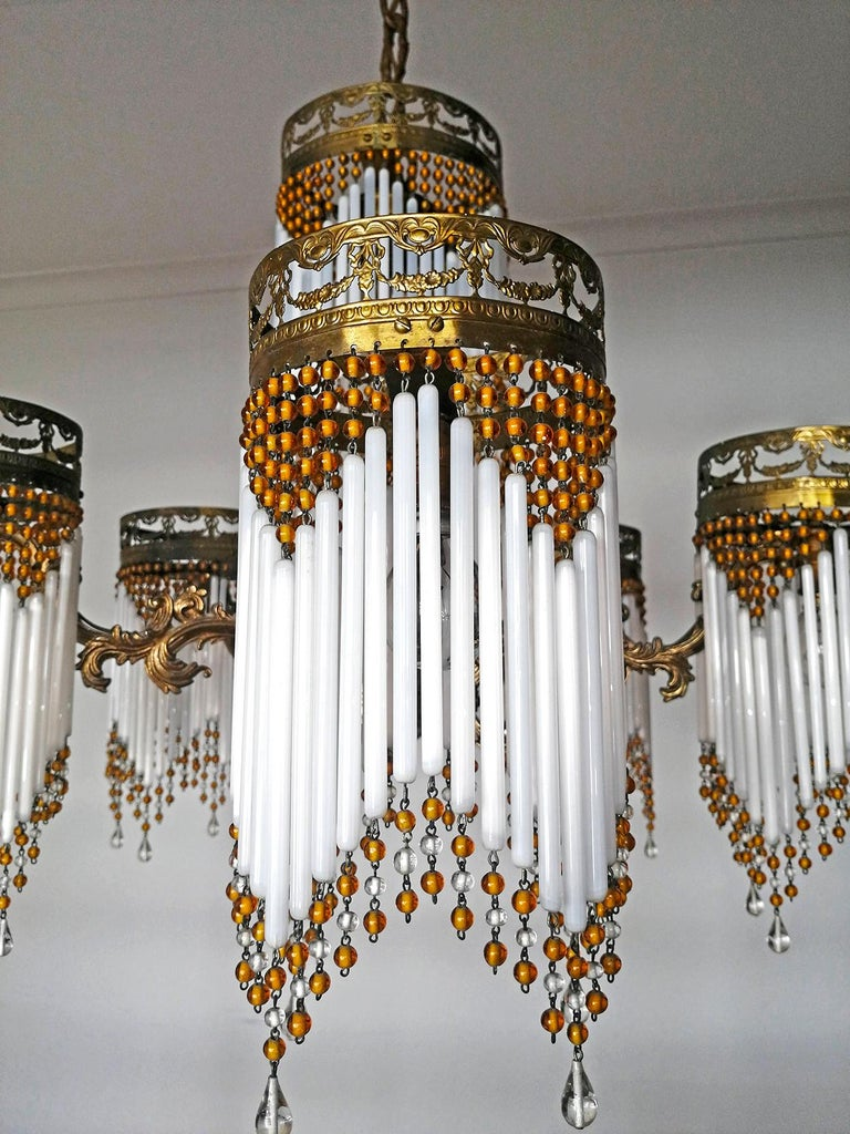 French Art Deco and Art Nouveau Amber Beaded Fringe and Gilt Ornate Chandelier For Sale 6