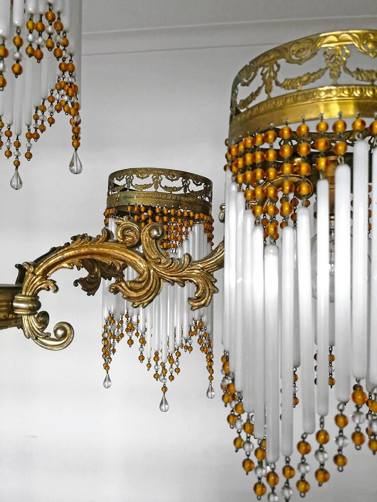 French Art Deco and Art Nouveau Amber Beaded Fringe and Gilt Ornate Chandelier For Sale 7
