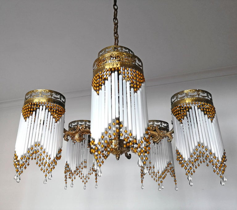 Hollywood Regency French Art Deco and Art Nouveau Amber Beaded Fringe and Gilt Ornate Chandelier For Sale