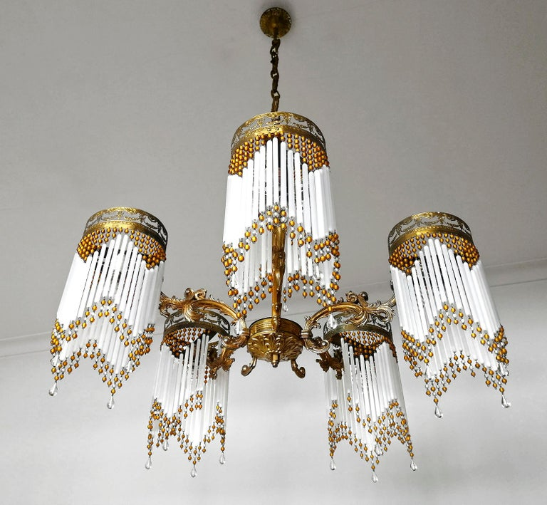 20th Century French Art Deco and Art Nouveau Amber Beaded Fringe and Gilt Ornate Chandelier For Sale