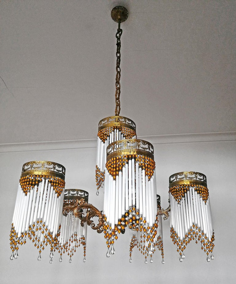 Opaline Glass French Art Deco and Art Nouveau Amber Beaded Fringe and Gilt Ornate Chandelier For Sale