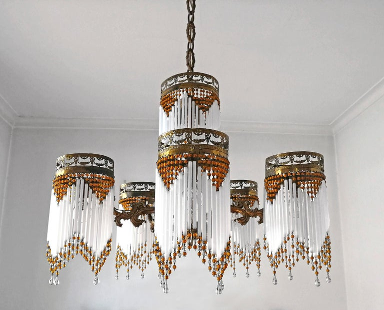 French Art Deco and Art Nouveau Amber Beaded Fringe and Gilt Ornate Chandelier For Sale 1