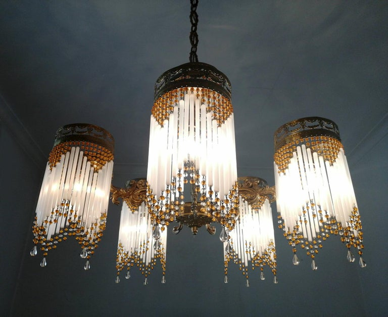 French Art Deco and Art Nouveau Amber Beaded Fringe and Gilt Ornate Chandelier For Sale 2
