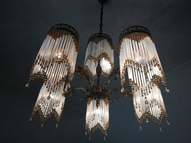 French Art Deco and Art Nouveau Amber Beaded Fringe and Gilt Ornate Chandelier For Sale 3