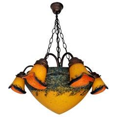 French Art Deco and Art Nouveau Amber Chandelier or Pendant by Art De France