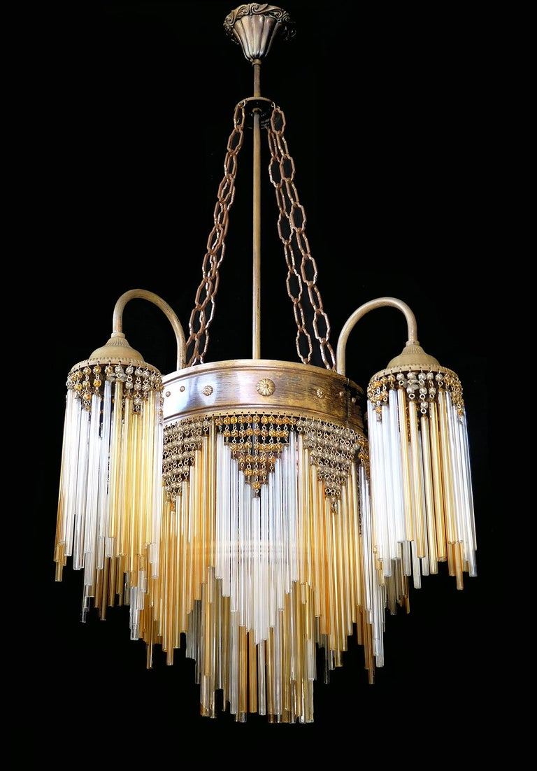 Hollywood Regency French Art Deco and Art Nouveau Amber Straw Fringe and Beaded Glass Chandelier For Sale