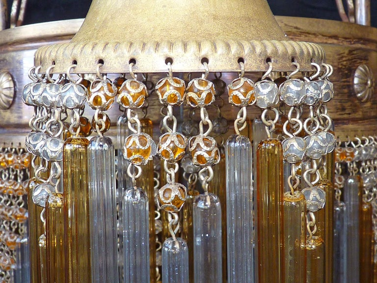 French Art Deco and Art Nouveau Amber Straw Fringe and Beaded Glass Chandelier For Sale 1