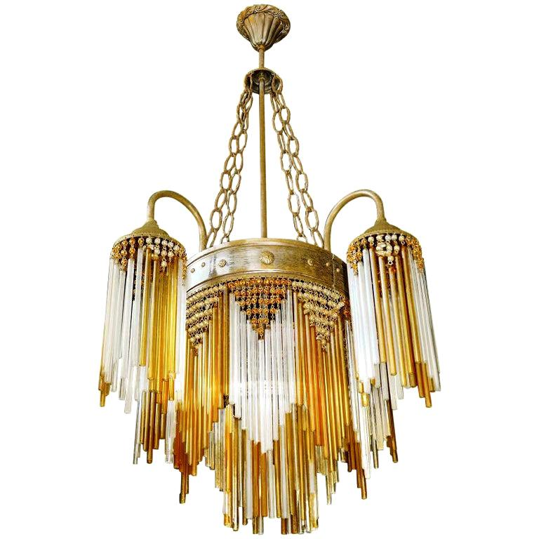 French Art Deco and Art Nouveau Amber Straw Fringe and Beaded Glass Chandelier For Sale
