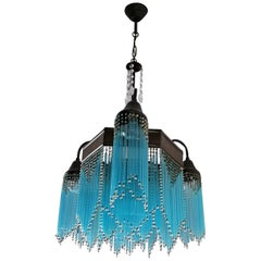 French Art Deco and Art Nouveau Blue Straw Fringe and Beaded Glass Chandelier