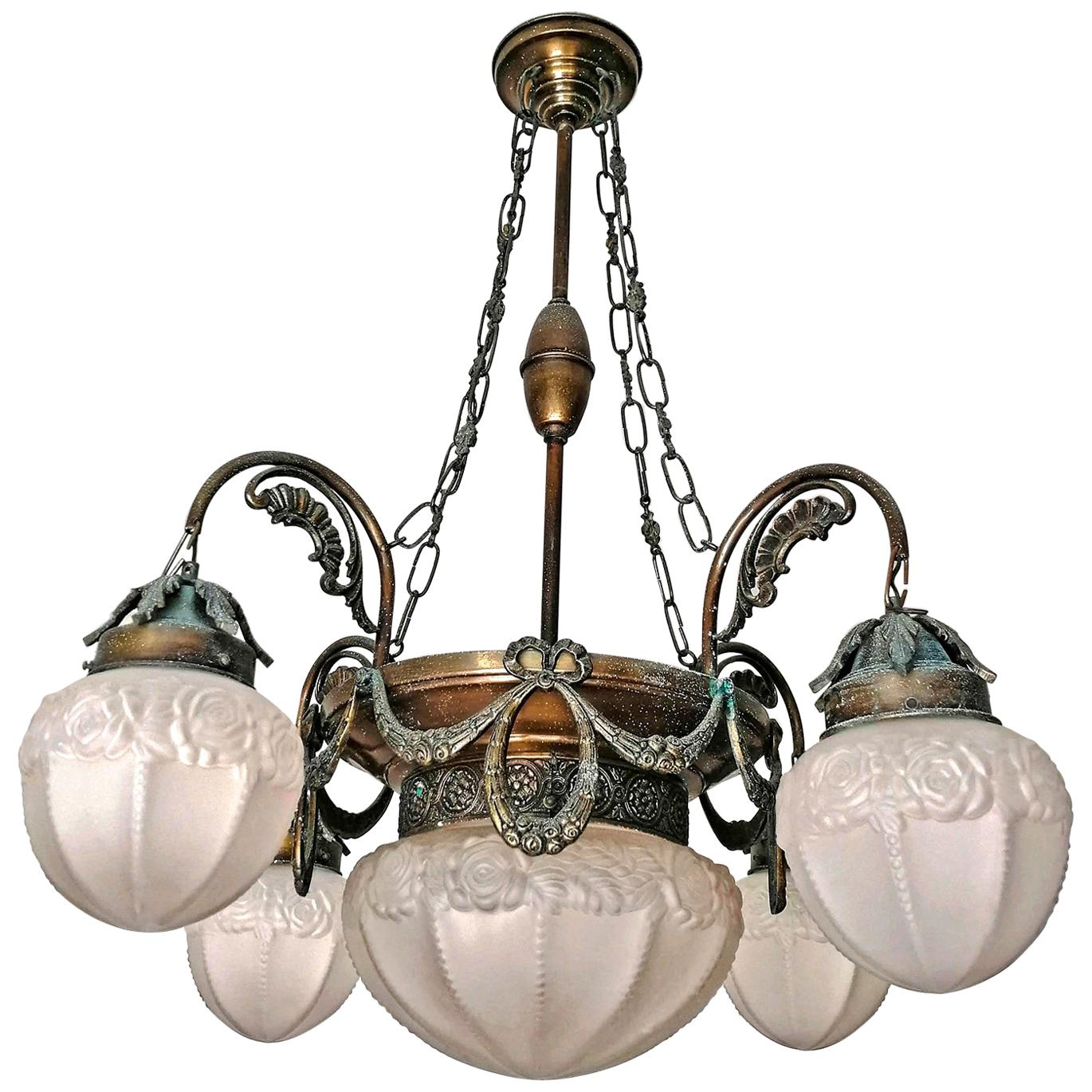 French Art Deco and Art Nouveau Brass and Frosted Glass 5-Light Chandelier