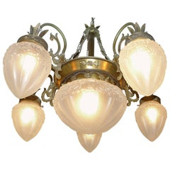 French Art Deco and Art Nouveau Brass and Frosted Glass Chandelier