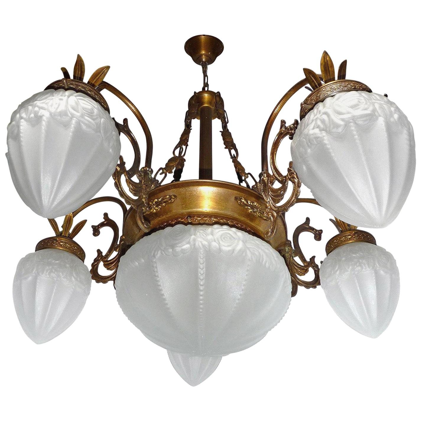 French Art Deco and Art Nouveau Brass and Frosted Glass Degué Style Chandelier